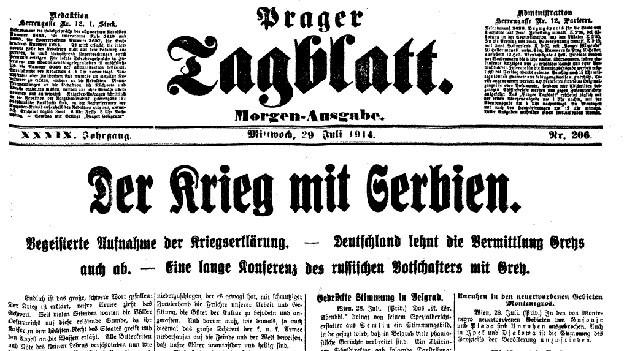 Ein Ausschnitt aus dem Prager Tagblatt, auf dem die Kriegserklärung von Österreich-Ungarn gegenüber Serbien bekannt gegeben wird.