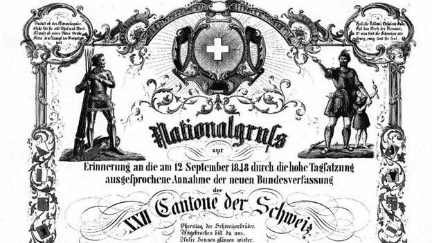 Erinnerungsblatt von J. J. Leuthy  «an die (...) durch die hohe Tagsatzung ausgesprochene Annahme der neuen Bundesverfassung»