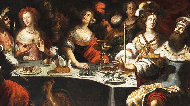 Gemälde, auf dem Menschen üppig essen.