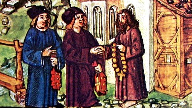 Gemälde zeigt drei Männer, einer davon ist Niklaus von der Flüe.