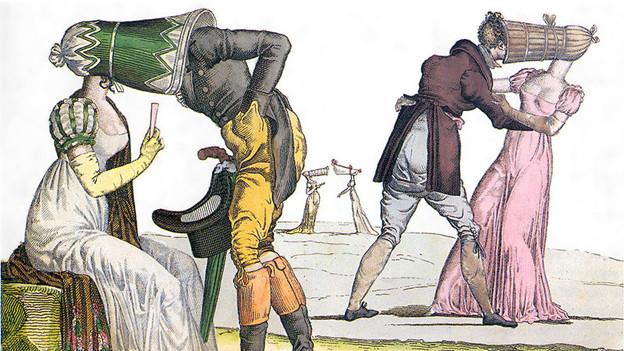 Eine Zeichnung zeigt zwei Paare, wobei der Mann jeweils in einem röhrenförmigen Hut der Frau verschwindet.