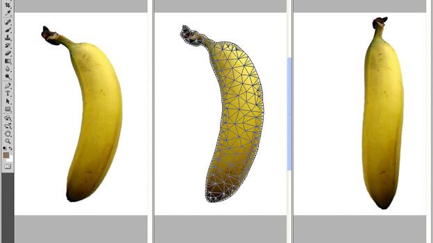 Photoshop macht's möglich: links das Originalbild, in der Mitte die Überarbeitung, rechts das Resultat.