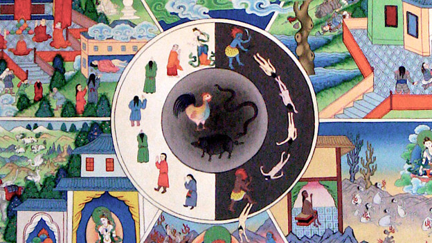 Zeichnung - in einem Kreis sind Menschen zu verschiedenen Punkten im Leben, von Geburt bis Tod dargestellt.