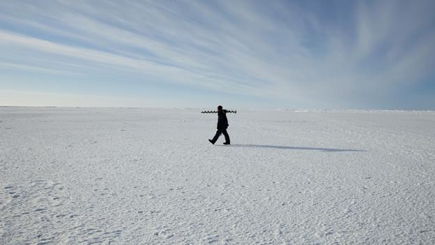 Ein Mann gehr durch eine verschneite Ebene.
