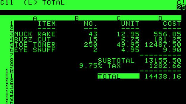 Ein Screenshot vom Programm Visicalc. Er zeigt grüne Zeichen.