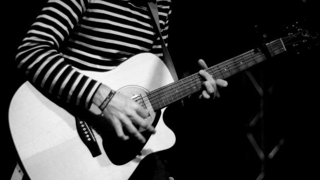 Ein Liedermacher braucht nicht viel Show. Stimme und Instrument reichen völlig.
