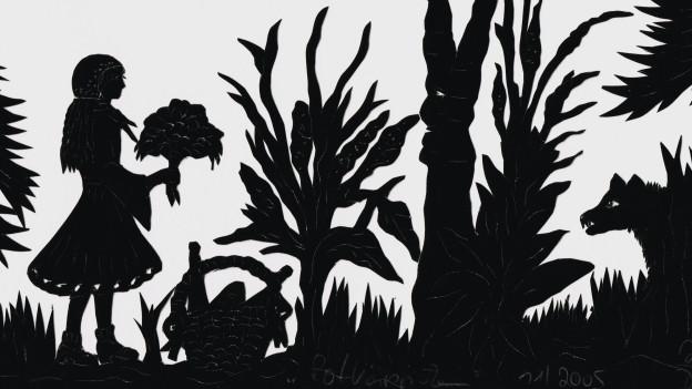 Scherenschnitt: Rotkäppchen im Wald