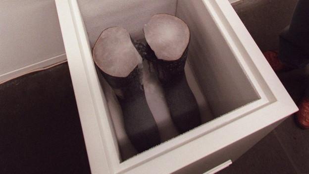 Ein geöffneter Eisschrank, in dem zwei mit Eis gefüllte schwarze Stiefel stehen.