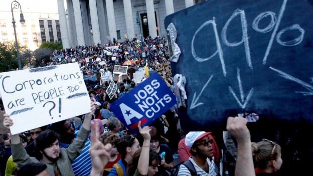 Demonstration im Finanzdistrikt New Yorks