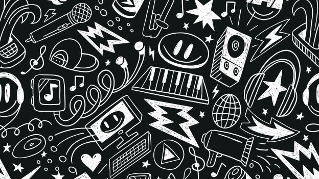 Grafik: Zeichnungen von Computern, Keyboards, Smileys, Lautsprechern und Noten.
