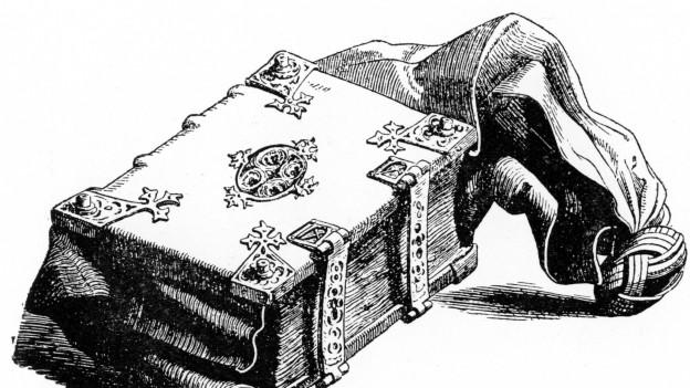 Schwarz-Weiss-Zeichnung eines Buches, an dem eine Art Gurt befestigt ist.