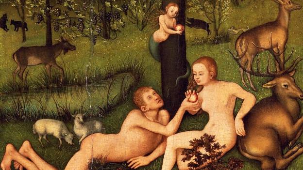 Gemälde des Garten Edens von Lucas Cranach