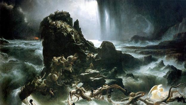 Ölgemälde: Ein kleines Stück Land schaut aus tobenden Fluten hervor. Viele nakte Menschen versuchen sich verzeweifelt zu retten.