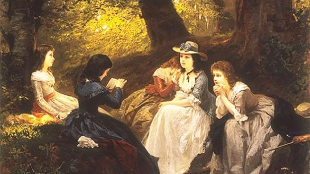 Gemälde: Eine Gruppe junger Mädchen sitzt im Wald und lauscht einer Vorleserin.