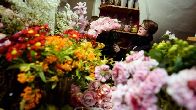 Ein Bild von verschiedenen Blumen in einem Blumenladen.