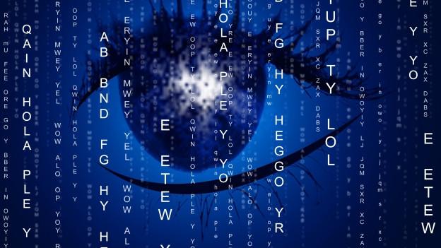 Auge in einer Zahlenmatrix.