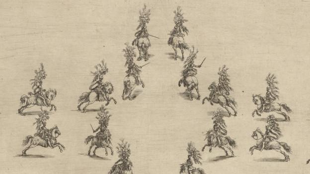 Anordnung von Pferden auf einer Zeichnung.