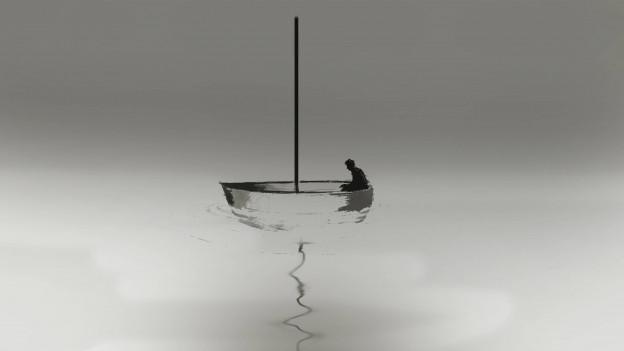 Mann in einem Segelboot ohne Segel bei Windstille