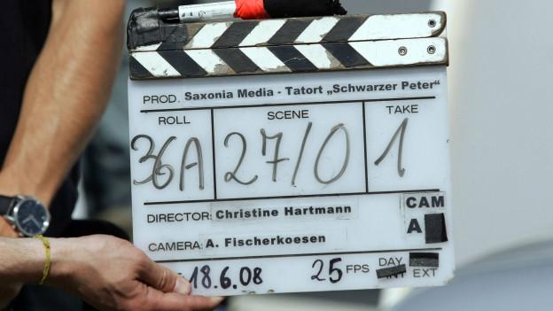 Filmklappe einer Tatort-Produktion