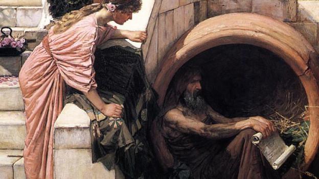 In dem Gemälde beugt sich eine junge Frau neugierig über eine offene Tonne, in der ein verwahrlost aussehender Mann hockt