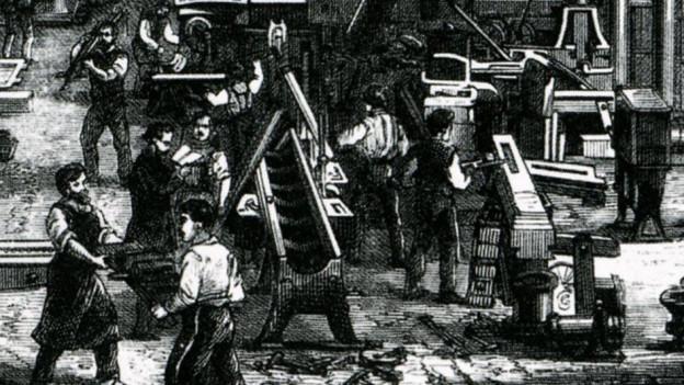 Fabrikler in einer Maschinenfabrik im deutsschen Chemnitzim Jahr 1868