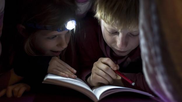 Zwei Kinder über einem Buch