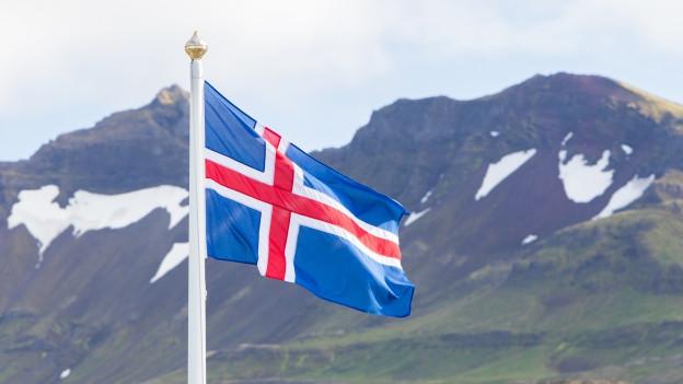 Isländische Flagge vor Landschaftsaufnahme