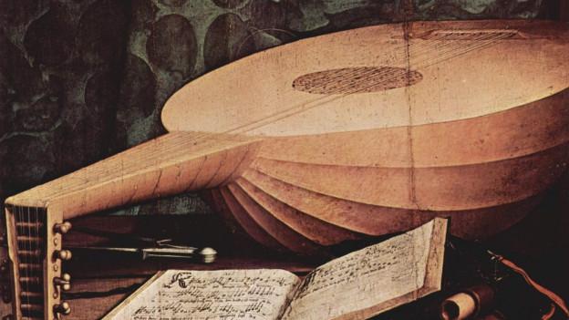 Bild von Hans Holbein, das ein Stillleben mit Laute zeigt.