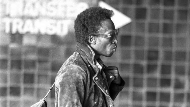 Miles Davis 1971 am Flughafen Zürich.
