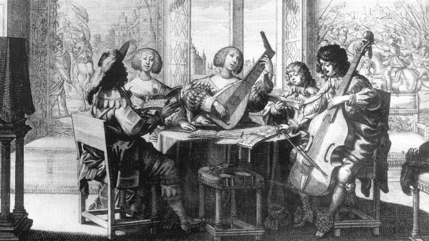 Druck: Menschen sitzen um einen Tisch und spielen barocke Instrumente.