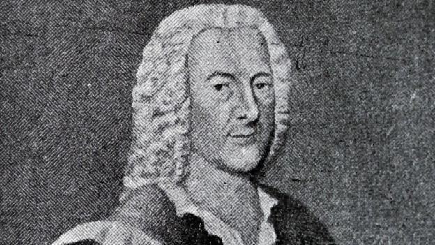 Schwarzweisszeichnung eines Herrn mit Lockenperücke