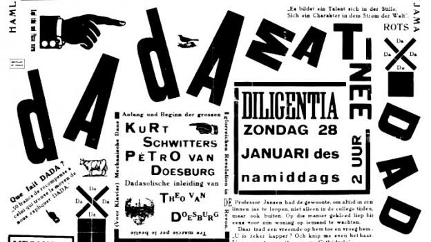 Eine collagierte Affiche für einen Dada Matinée.