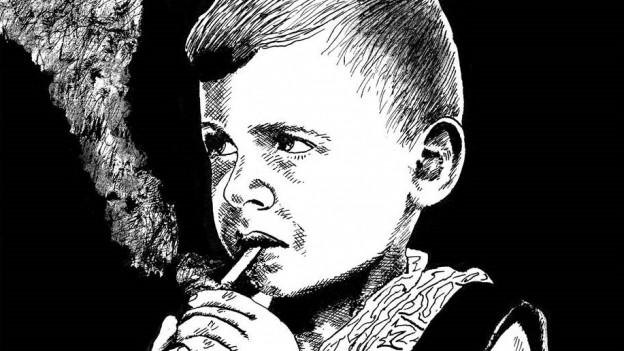 Gezeihnete Bilder von Frédéric Pajak als rauchende Kind