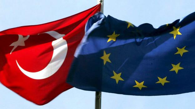 Flagge der Türkei und der EU.