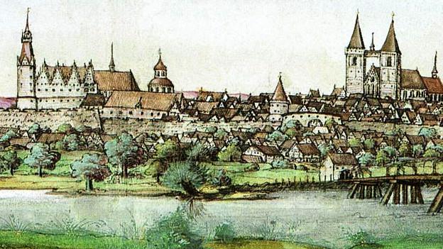 Zeichnung der Stadt Wittenberg aus dem Jahr 1536.