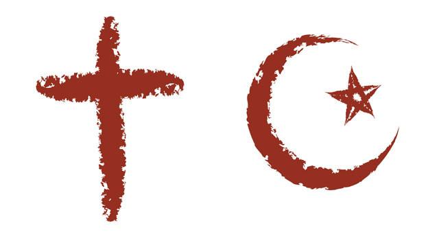 Christliches Kreuz und Mondsichel