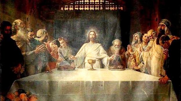 Ein Gemälde des Abendmahls.