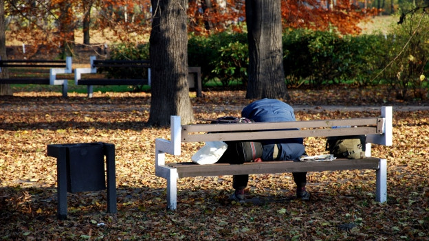 Ein Mann sitzt auf einer Parkbank.