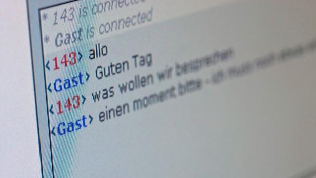 Bild eines Computerbilschirms mit Worten eines Chats