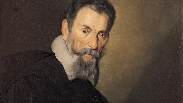 Claudio Monteverdi ist schwarz gekleidet.