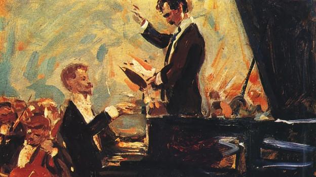 Ein Gemälde, einer am Klavier, der andere dirigiert.