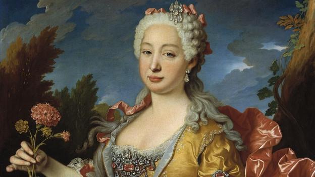 Portrait einer Dame in üppigem Kleid mit Blumen in der Hand