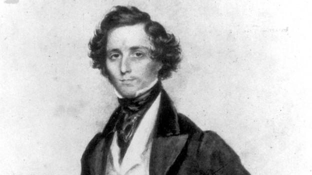 Eine Schwarz-Weiss-Zeichnung eines Mannes mit mittellangem, krausem Haar.