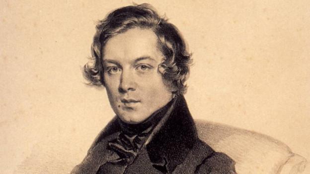 Eine Lithographie von Robert Schumann. Er ist edel gekleidet.