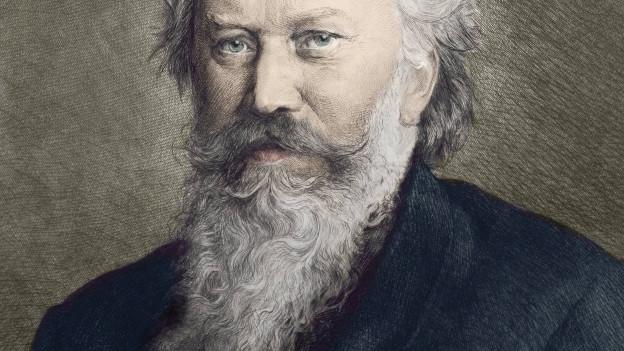 Porträt des Komponisten Brahms.