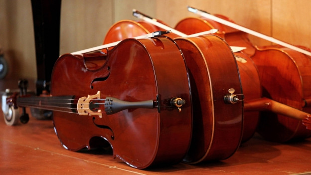 Verschiedene Cellos am Boden