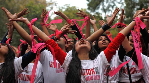 Tanzen gegen Gewalt an Frauen: Flashmob in Neu Delhi.
