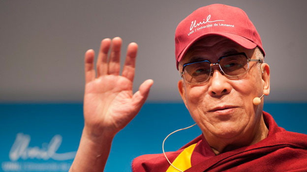 Der Dalai Lama bei seinem Besuch in der Universität Lausanne.