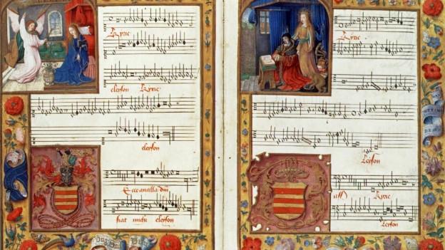 Ein mit Illustrationen und Ornamenten prachtvoll verziertes Notenblatt