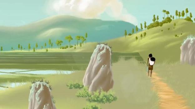 Szene aus einem Animationsfilm: Grüne Landschaft mit Bergen und Reisfeldern, eine Frau mit einem kleinen Kind geht einem Weg entlang.